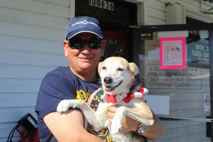 A Doggone Good Time - A person holding a dog - Dog breed