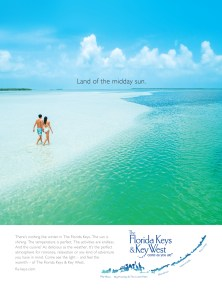 Striking 2020 ads lure various visitors to island chain - A person on a surfboard in the water - Florida Keys