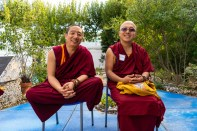 Geshe Tenpa and Minyak Rinpoche prepare to give personal and pet blessings at Island Dolphin Care in Key Largo.