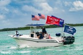 A Trump boat parade participant in the Upper Keys makes its way from Key Largo to Snake Creek in Islamorada.
