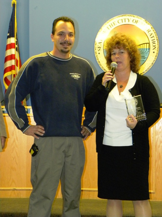 Marathon City Marina Harbormaster Austin DiRenzo was recognized by the mayor and council for five years of service to the city