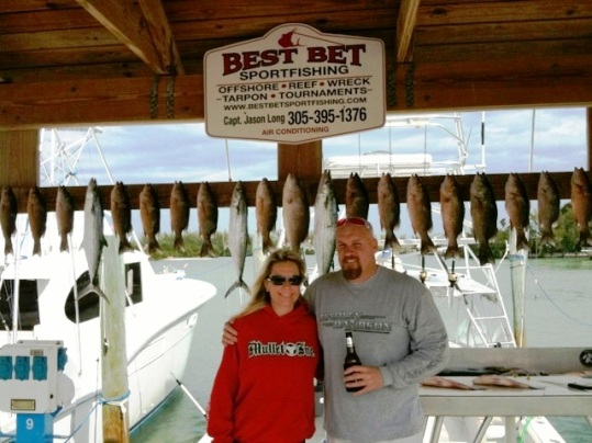 Butch and Dawn, Best Best regulars from Dallas, Texas with a mixed bag of patch reef fish including mangroves, yellowtails and cero mackerels