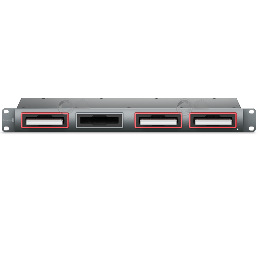 Front Blackmagic Design SSD disc reader multidock with 2 x thunderbolt