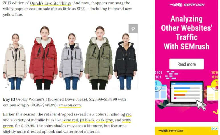 Publisher selling a coat with many ads, and no clear affiliate link