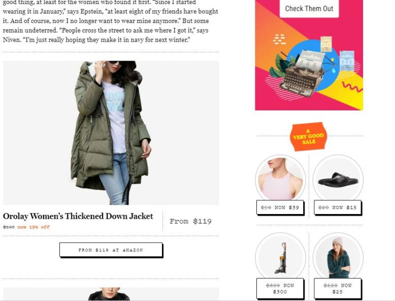 Publisher selling coat with a clear affiliate link and price, but also distractions in the side bar