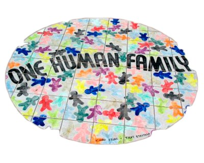 photo of many colored people on the earth with the words One Human Family