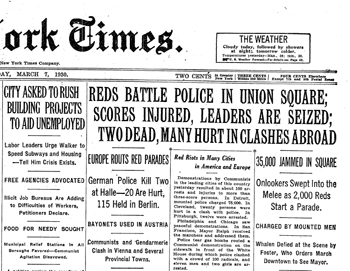The New York Times front page on 7 March 1930, the day following the march