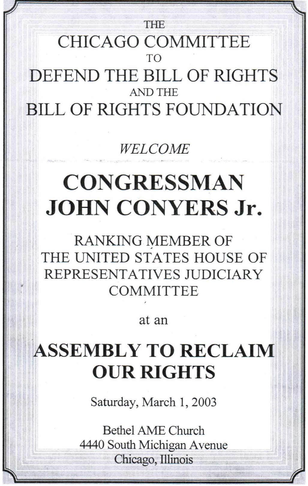 Invitation to CCDBR event with John Conyers