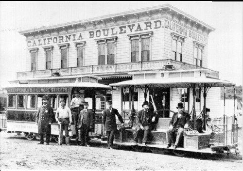 California car at Fillmore. Building housed saloon and billiard parlor.