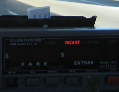 A San Francisco taximeter with the words 'VACANT' lit by a redLED