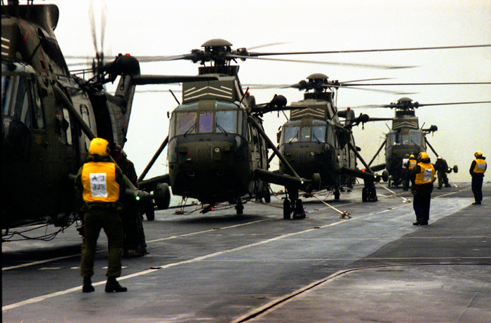 Choppers on deck of HMS Ark Royal during excercise