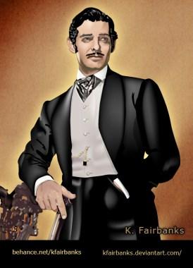 Clark Gable as Rhett Butler digital art by K. Fairbanks