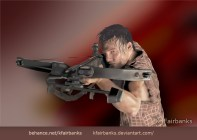 Digital painting of Norman Reedus as Daryl Dixon by K. Fairbanks
