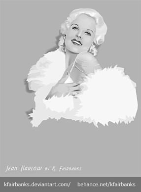 Jean Harlow Digital Drawing by K. Fairbanks