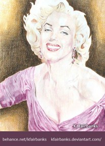 Marilyn Monroe portrait, color pencil drawing, by K. Fairbanks