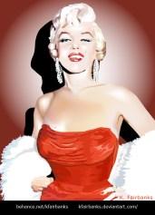Marilyn Monroe in Red Dress - digital drawing by K. Fairbanks