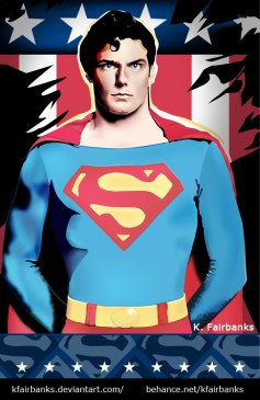 Christopher Reeve as Superman - drawing by K. Fairbanks
