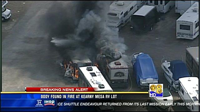 Body found in fire at Kearny Mesa RV lot  CBS News 8