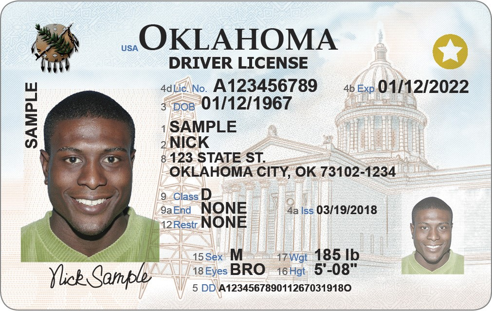 Photo of REAL ID approved Oklahoma license