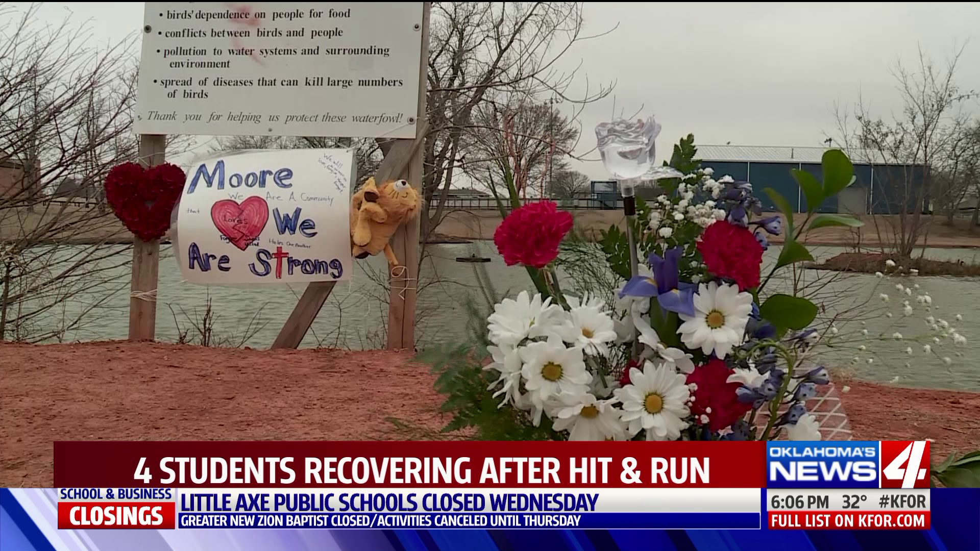 A memorial for two Moore High School students who died from injuries they suffered when they were struck in a hit and run.