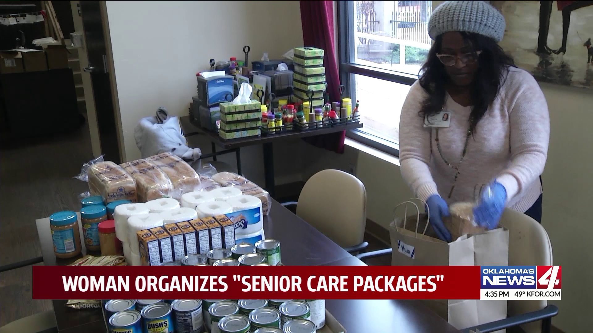 woman creating care packages for seniors