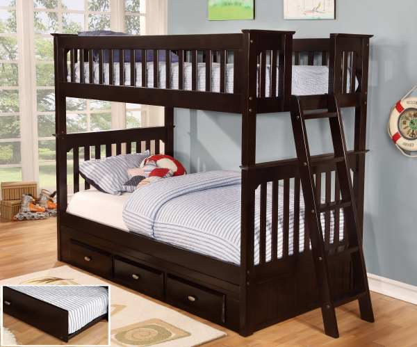 Discovery World Furniture Twin Over Espresso Bunk Beds Kfs Stores