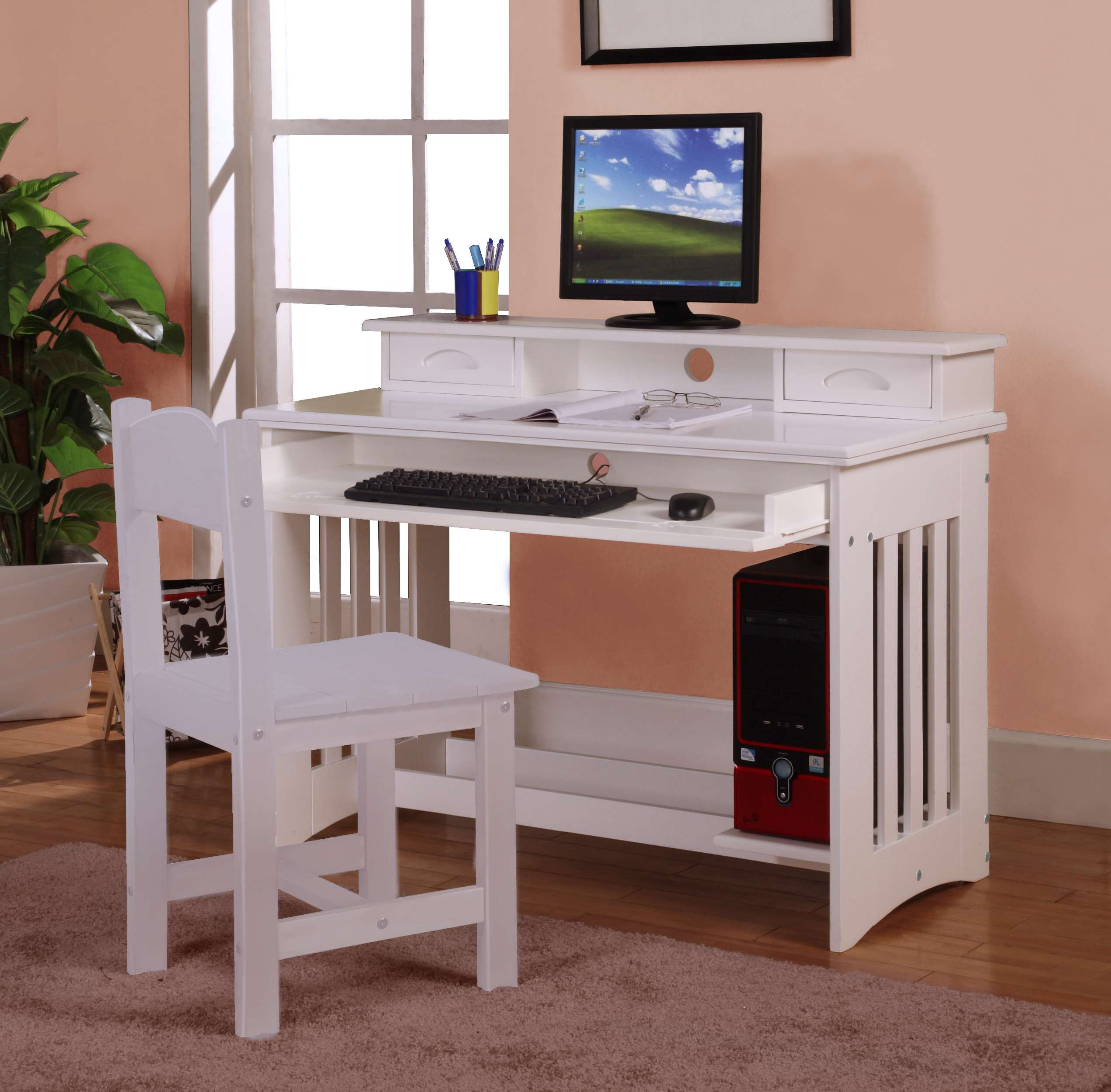 Discovery World Furniture White Desk with Hutch  KFS STORES