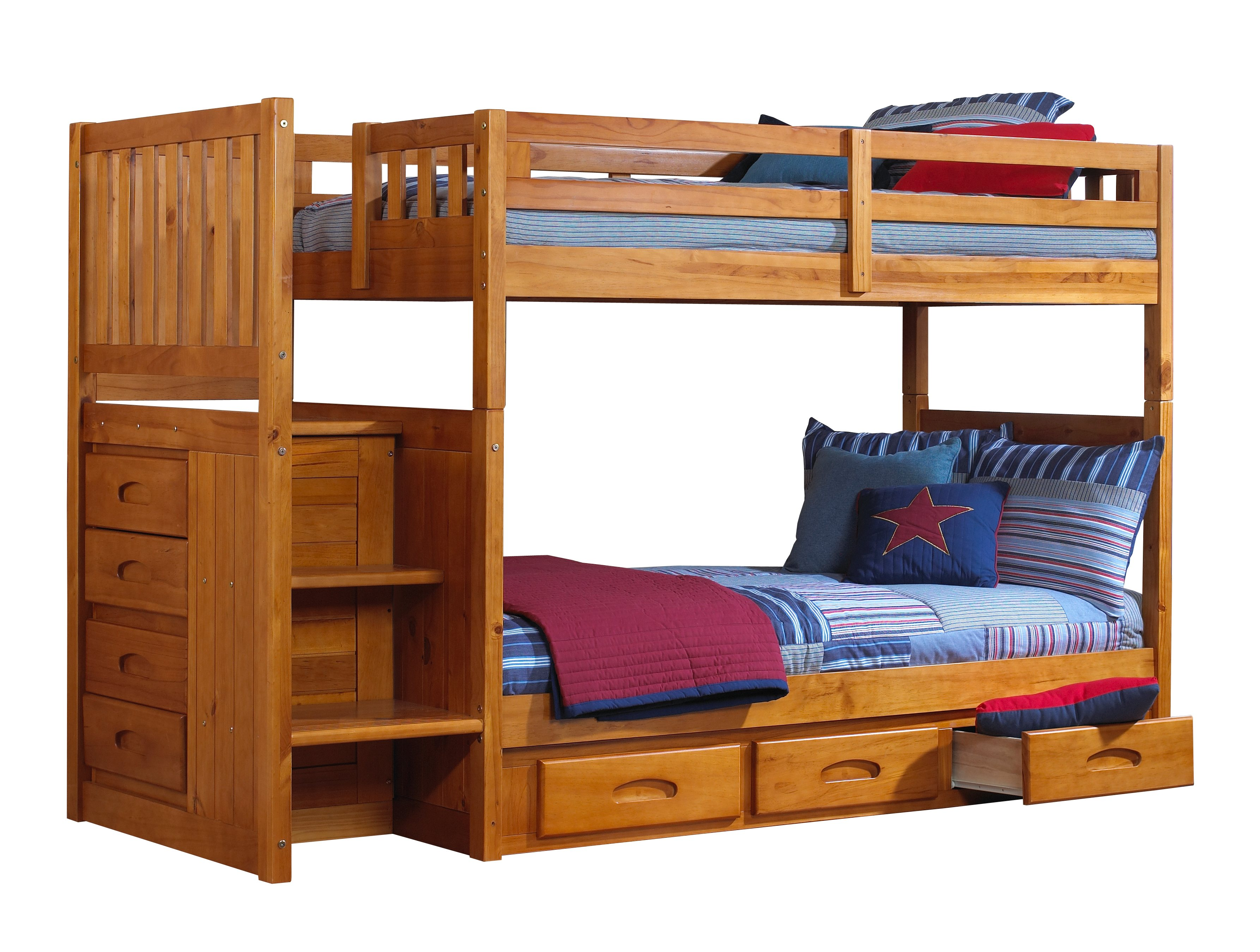 discovery world furniture twin over twin honey mission staircase bunk beds with desk hutch chair and bookcase