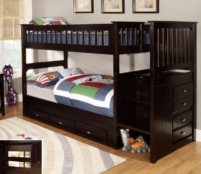 Discovery World Furniture Twin Over Espresso Staircase Bunk Beds