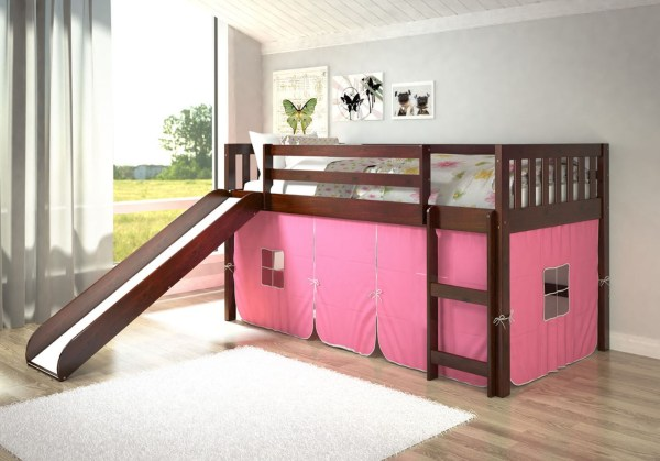 Loft Bunk Bed with Slide and Tent for Kids