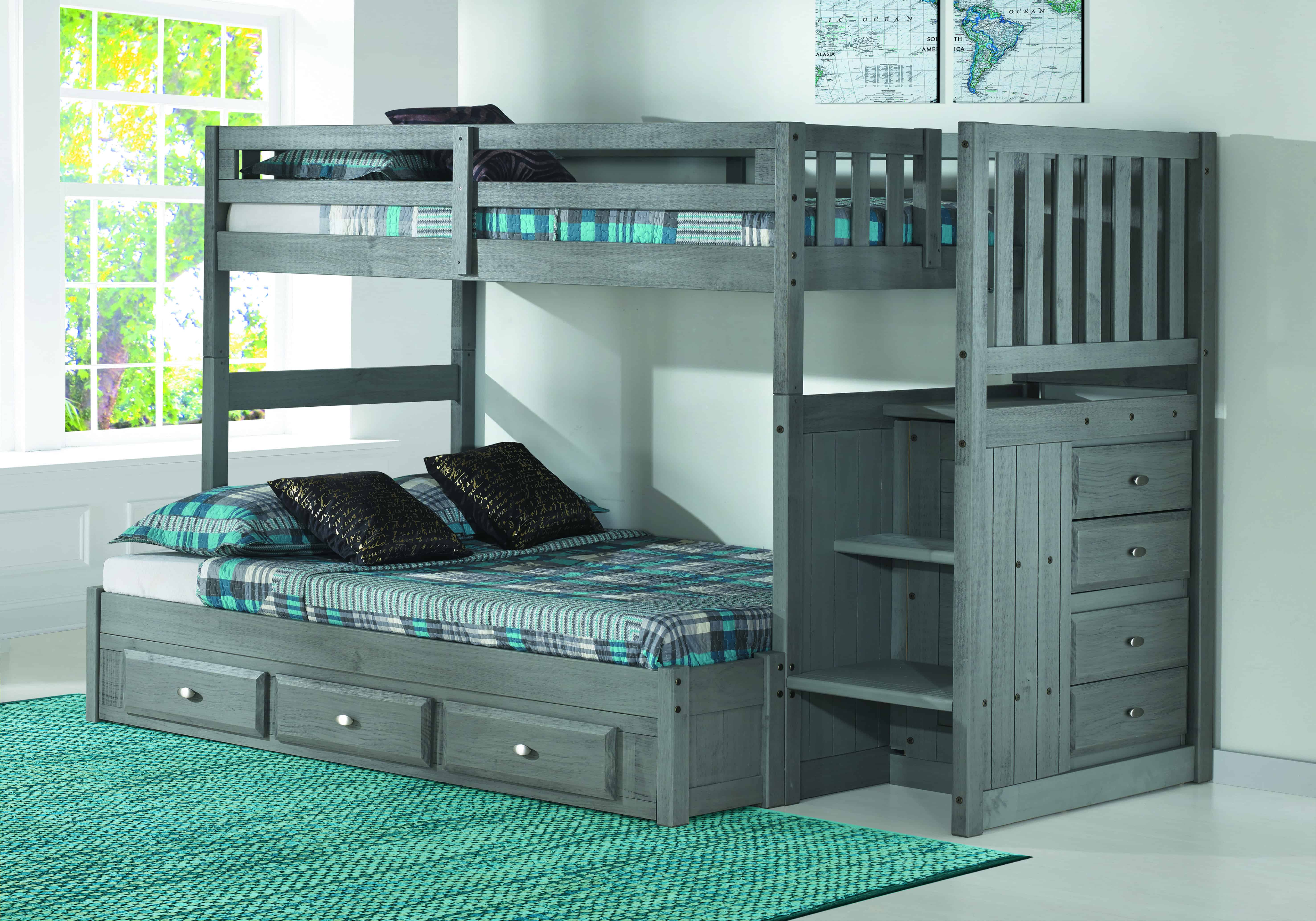Discovery World Furniture Twin Over Full Charcoal Staircase Bunk Bed  KFS STORES