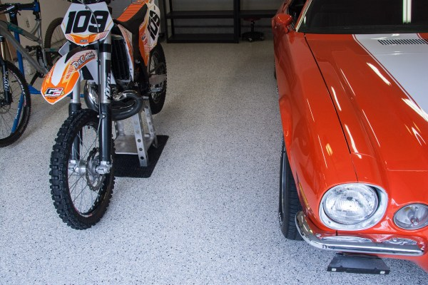 Utah Garage Epoxy Floor Coating - Cottonwood Heights 3 Car Garage - Camaro and Motorcycle