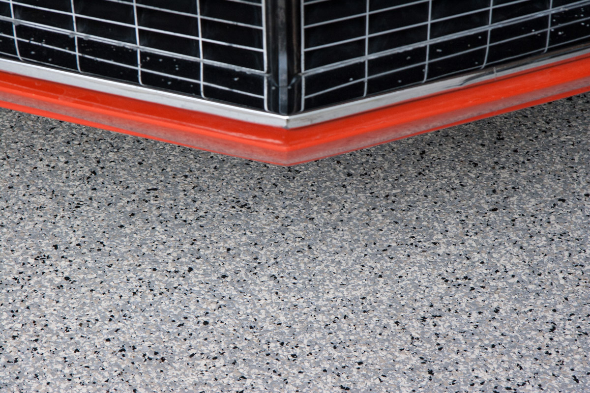Utah Garage Epoxy Floor Coating - Cottonwood Heights 3 Car Garage - Camaro front end detail