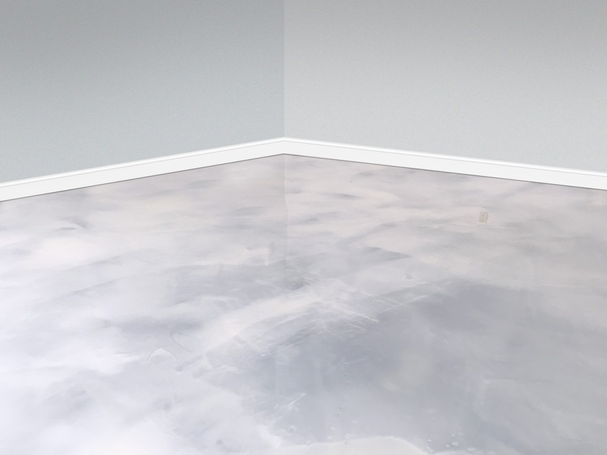 white metallic basement floor