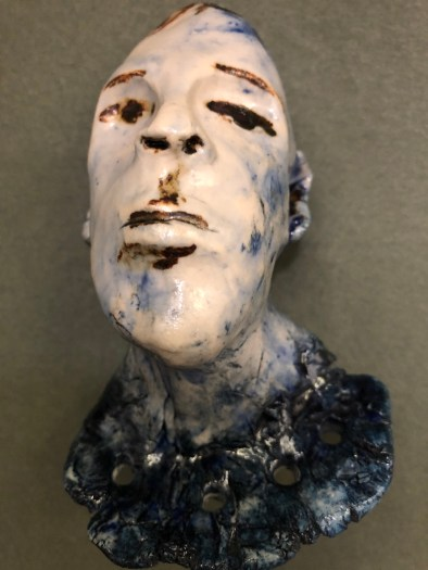 "High fire clay body with oxide stain and clear glaze 3.5""x 4.5""x3"" 2018"