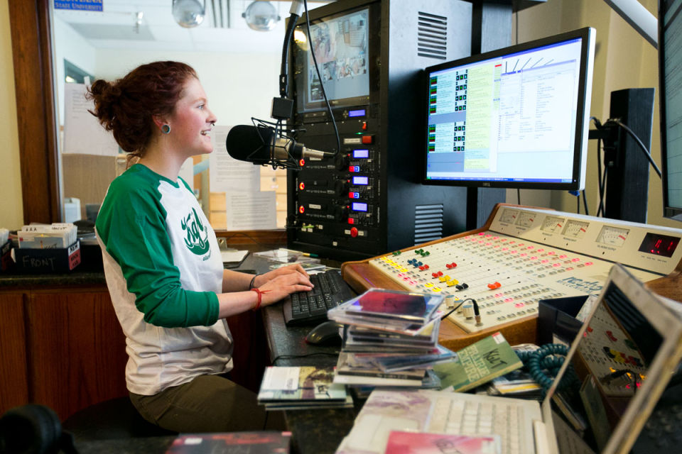 KGLT DJ Emily Schaefer in the air studio