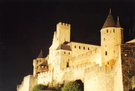 Carcassonne illuminated at night