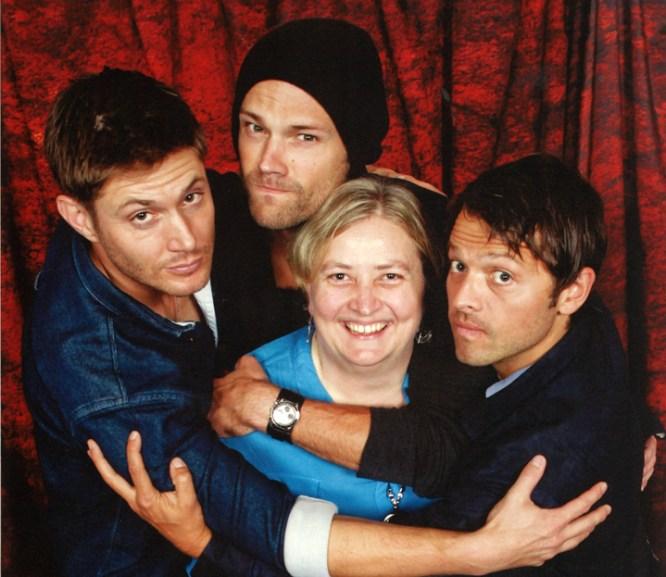 Being squished by Supernatural cast Jensen, Jared & Misha