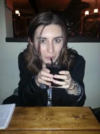 Rachel drinks a Purple Nurple.