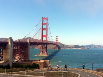 Cycling across Golden Gate Bridge, San Francisco