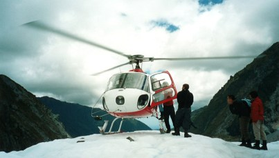 Heli-hiking on Fox Glacier in New Zealand