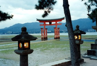 Torii gate surrounded by mud flats