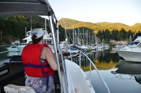 Karen navigating into Fishermen's Cove