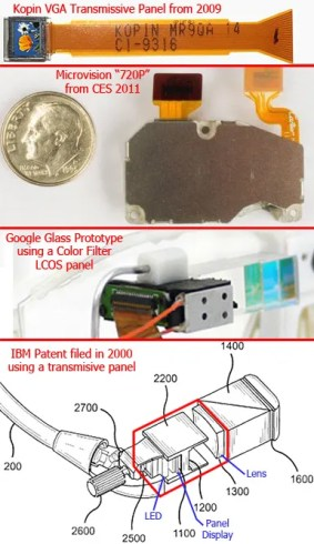 Google Glass display options scaled to a dime