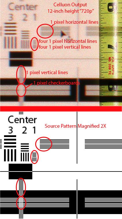 Celluon test pattern comparison