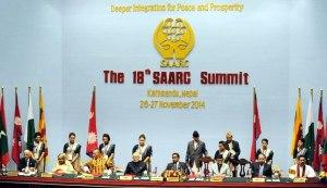26 नवम्बर 2014 का दिने नेपाल के राजधानी काठमांडू में 18वें सार्क सम्मेलन के उद्घाटन सत्र के दृश्य.