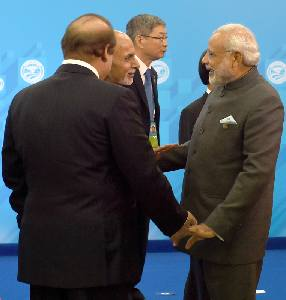 The Prime Minister, Shri Narendra Modi with the Prime Minister of Pakistan, Mr. Nawaz Sharif and the President of Afghanistan, Md. Ashraf Ghani, at SCO summit, in Ufa, Russia on July 10, 2015.