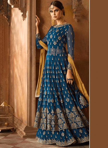 Blue Embroidered Anarkali Lehenga
