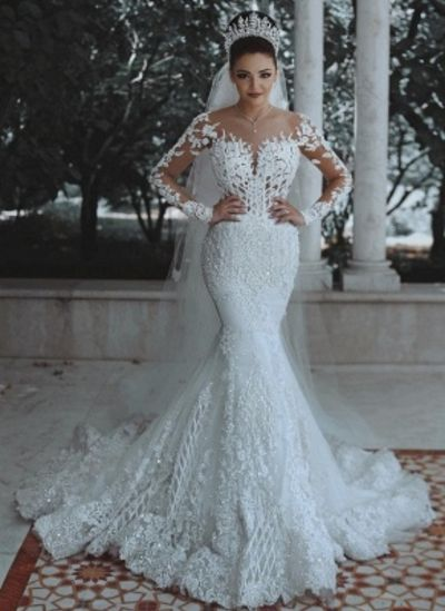Gorgeous Long Sleeves Wedding Dresses  Appliques Beading Mermaid Bridal Gowns