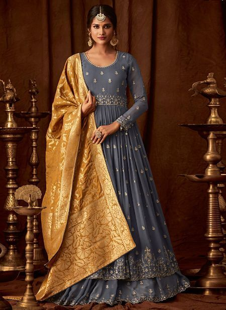 Greyish Blue Long Choli A Line Lehenga